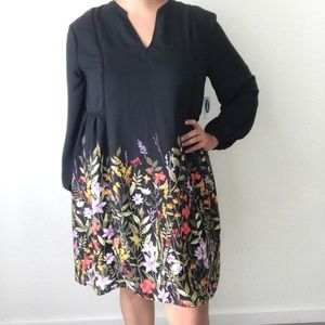 New Old Navy Georgette Swing Black Floral Dress L